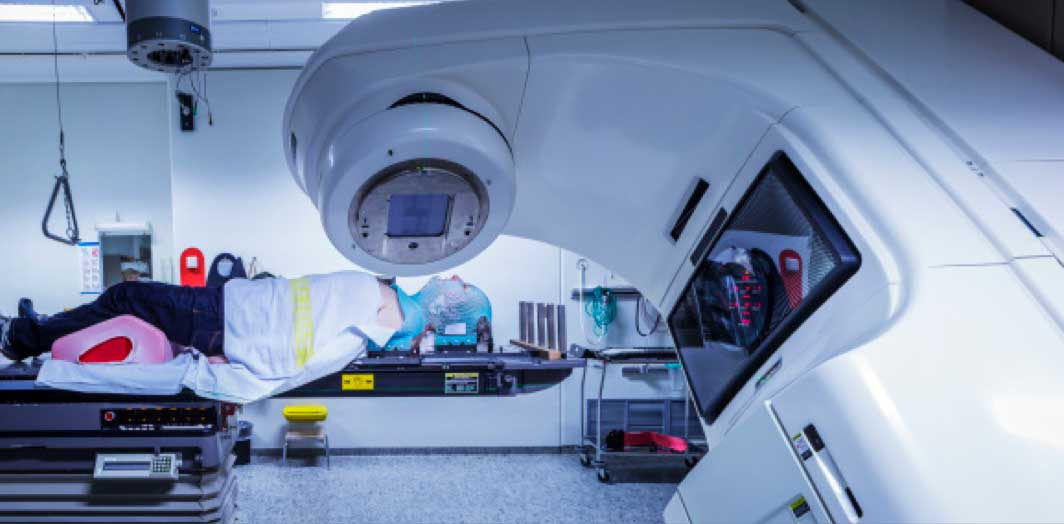 Patient inside a linear accelerator