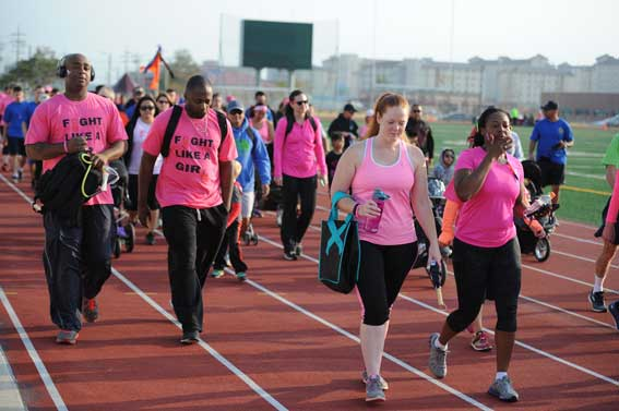 Women walking for breast cancer month