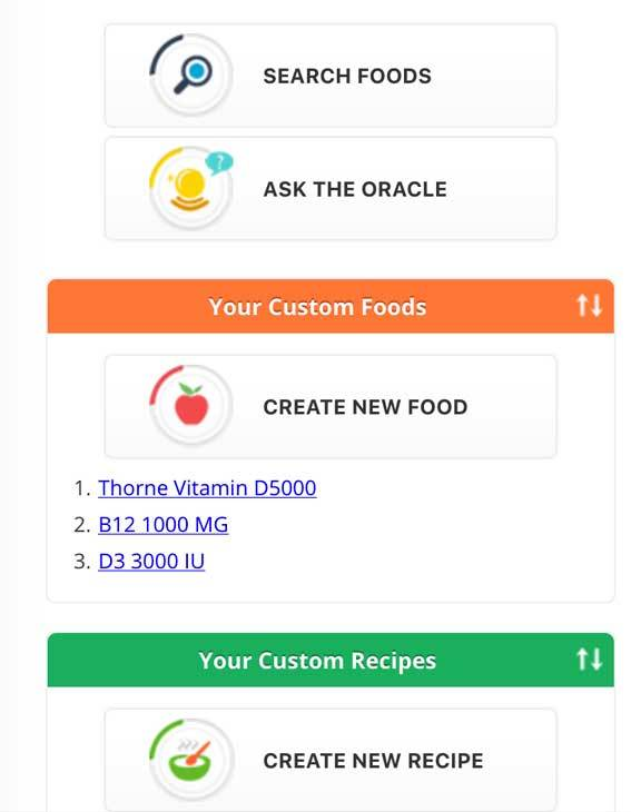 Add custom foods and recipes