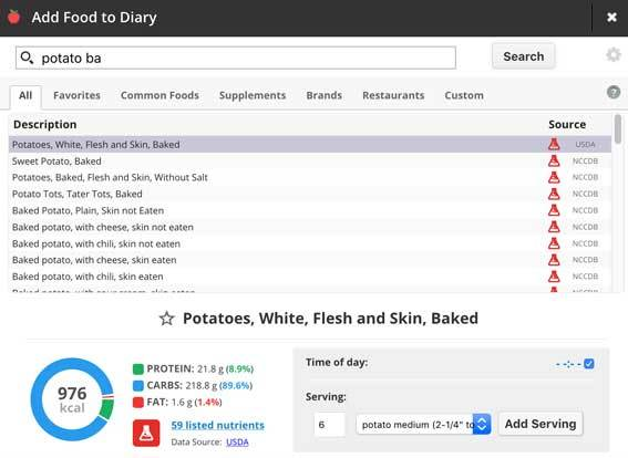 Add food to Cronometer