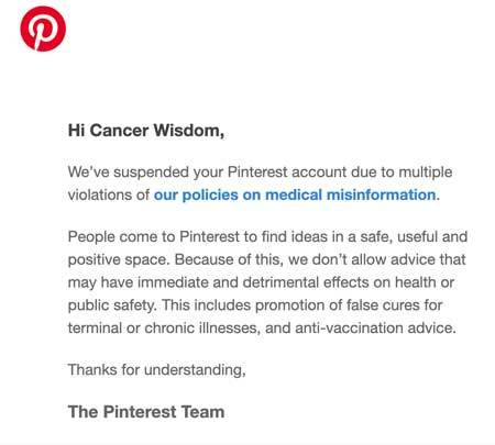 Cancer Wisdom Pinterest ban