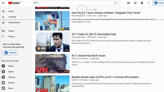 Search results on Youtube for 9/11 showing news channel videos