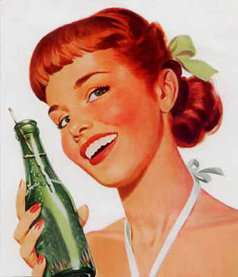 Old animated ad of a woman drinking Coca Cola from a glass bottle
