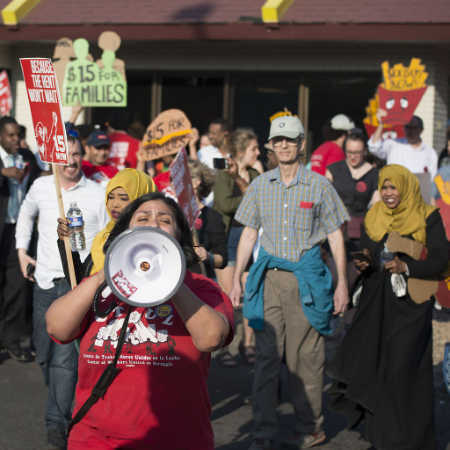 Fast-food workers on strike for higher minimum wage and better benefits