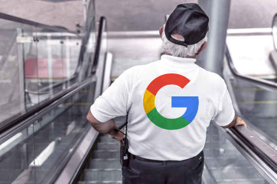 A security guard with a Google logo