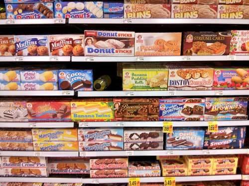 processed foods on a food shelf