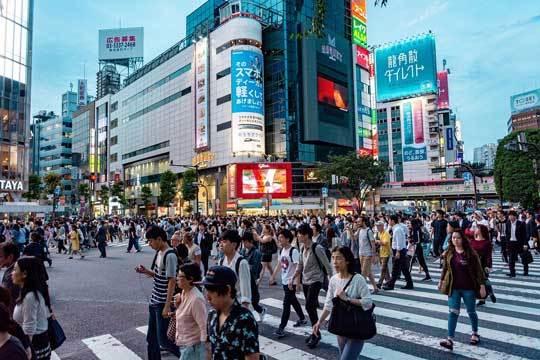 Japanese people crossing the street in Tokyo