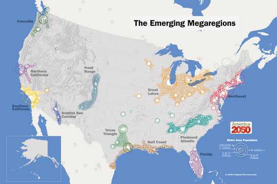 map showing megaregions in the U.S 2050