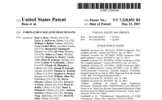 u.s patent of coronavirus