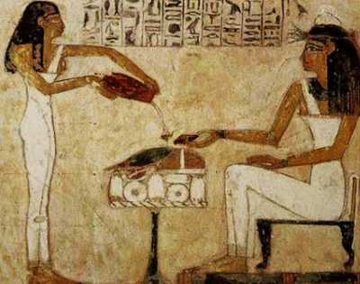 Egyptian hieroglyphics depict the pouring out of beer