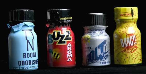picture showing four different bottles of poppers