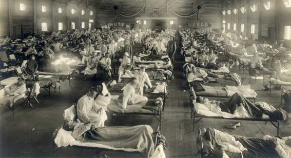 Camp Funston, at Fort Riley, Kansas, during the 1918 Spanish flu pandemic
