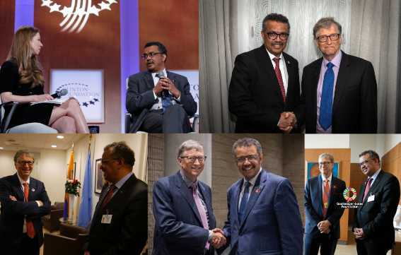 Several pictures showing Tedros Adhanom Ghebreyesus with Bill Gates