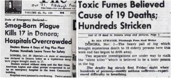 Picture showing news articles from the Donora accident
