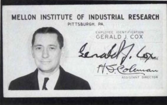 I.D of Gerald J. Cox of te Mellon Institute