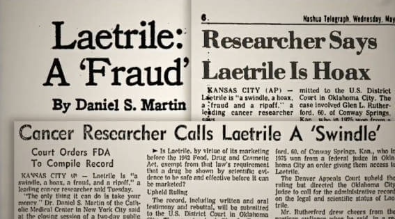 Articles criticizing laetrile or B17 for cancer