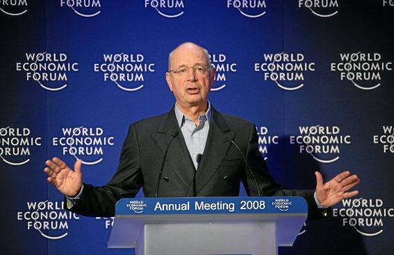 Klaus Schwab giving a speech