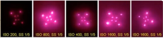 picture showing Luciferase with different shutter speeds