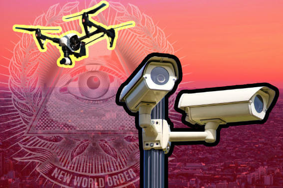 Drone and surveillance camera in front of a megacity