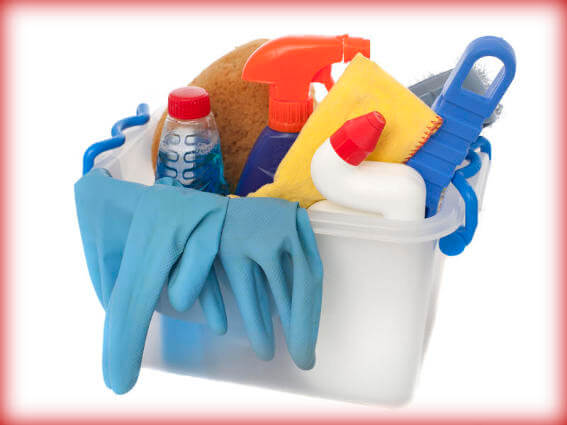 Cleaning products in a box