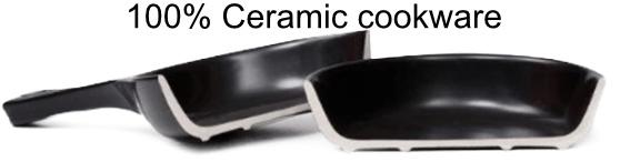 Ceramic cookware cut in half