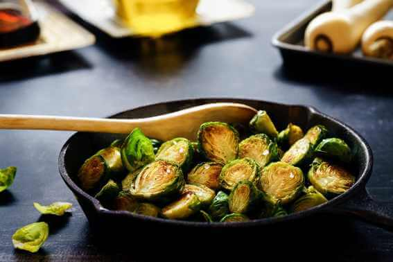 Iron cast with Brussels sprouts