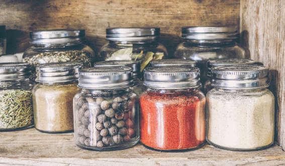 Mason jars containing dried foods