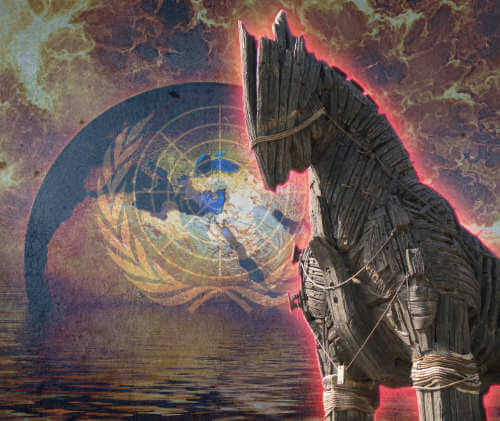 A Trojan horse in front of burning earth