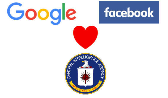 CIA, Facebook, and Google logo and red heart